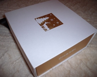 """Vintage CHANEL Gift Box Reindeer Trees White & Gold 8 1/4"""" Square"""