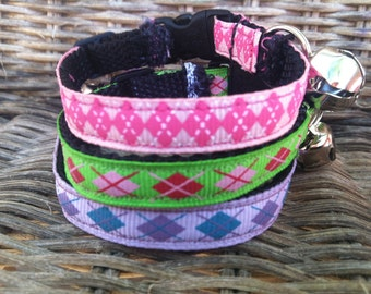 Girl Colors, Pink, Purple or Green Argyle Cat Collar