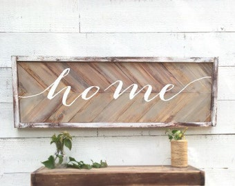 Rustic home Sign, vintage Home Decor, herringbone, chevron wood sign