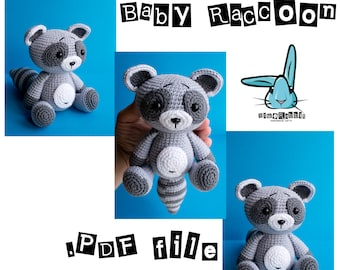 Baby raccoon - amigurumi crochet pattern. PDF file. DIY. Languages - English, Swedish, Norwegian