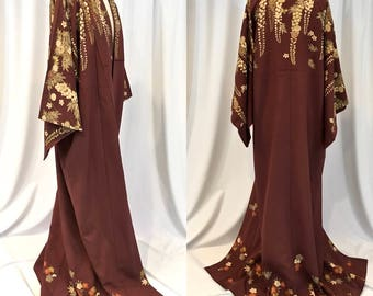 Vintage Antique Brown Kimono with Trailing Wisteria pattern, hand outlined in gold