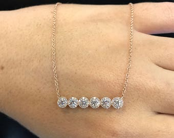 14kt Rose Gold Women's Diamond Bar Necklace