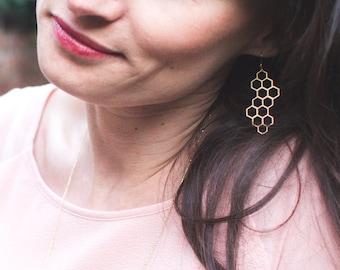 Matte gold honeycomb earrings