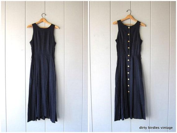 Dark Blue Sleeveless Dress 90s Long Woven Sun Dress Modern Back Button Preppy Dress Minimal Vintage Casual Prep Womens Medium 12