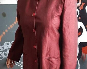 Vintage 1980s Ladies Maroon Red Liz Claiborne Jacket Size 14 Linen Mix