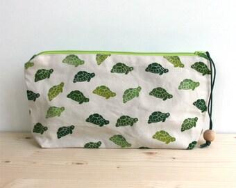 Sea turtles clutch bag, large pencil case, boho clutch, block printing, handmade