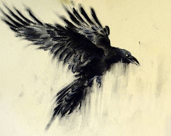 Flying Crow Original Charcoal Drawing 12x8""
