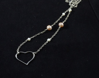 Sweetheart necklace - heart charm necklace with freshwater pearls - cultured pearl jewelry - authentic pearl necklace - sweetheart gift