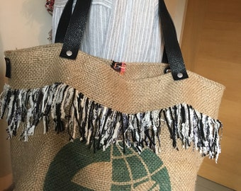 Tote bag in Burlap bag fabric reversible coffee French couture