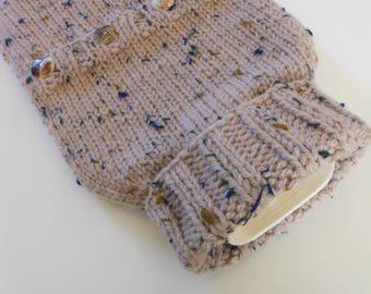 TheCraftyElks: Hand Knitted Hot Water Bottle Cover (Cosy) in Flecked Beige - Wool Blend