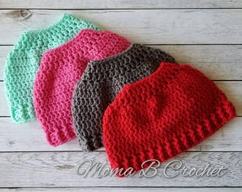 Crochet Messy Bun Hat, Messy Bun Hat, Messy Man Bun Hat, Pony Tail Hat, Pony Tail Beanie, Messy Bun Toque