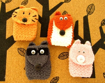 Kids Knit Wrist Wallet Cuff (for MP3, iPods, School ID, Bus Pass Holder, etc) - Choice of Wildlife Pals