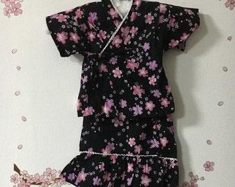 Girl Kimono,  Cute Outfits For Girls, Black With Sakura Design, Baby Kimono, Child Kimono, Baby Gifts, Baby Jinbei, Photo Prop Idea