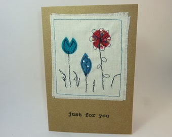 Sewn appliqué flower card. Handmade card. Flower greetings card. Suitable for birthday, thank you, get well or any occasion.
