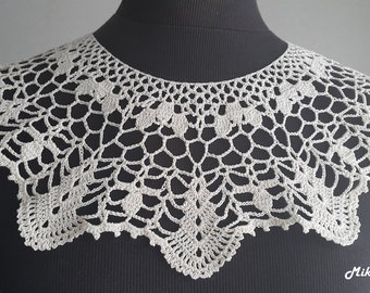 Handmade Crochet Collar, Neck Accessory, Ivory, 100% Cotton