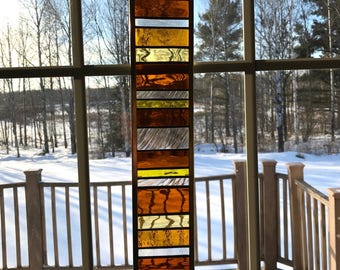 Amber Geometric Stained Glass Suncatcher, Stained Glass Panel, Stained Glass Window, Window Hanging, Home Decor, Sun Catcher