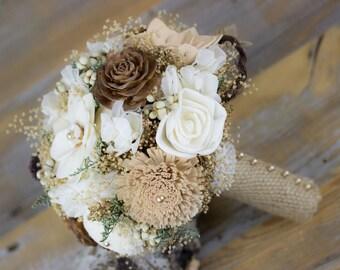Wedding Bouquet, Bridal Bouquet, Woodland Sola Flower Bouquet, Tan/Natural/ Brown Bridal Bouquet, Keepsake Bouquet,Handmade Bridal Bouquet