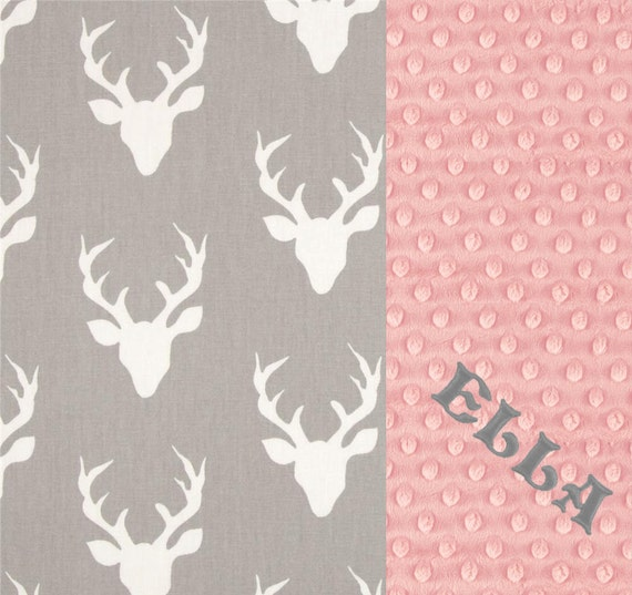 Personalized Baby Blanket, Minky Baby Blanket Girl, Monogrammed Blanket, Cotton Gray Pink Deer Blanket, Baby Shower Gift, Name Baby Blanket
