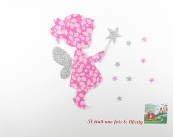 Applied fusible fairy liberty glenjade pink, fusing coat liberty liberty patch iron iron on liberty fabrics