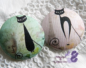 2 buttons fabric cats, 22 mm / 0.86 in