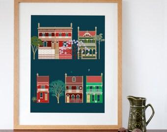 Australian Terraced Houses Art Print