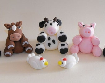Farm Animals Cupcake or Cake Toppers - set of 7