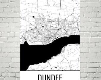 Dundee Map, Dundee Art, Dundee Print, Dundee Scotland Poster, Dundee Wall Art, Scotland Gifts, Map of Scotland, Poster, Scottish Decor
