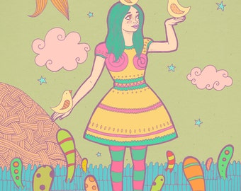 """Print of my illustration """"Birdies"""", made with ink and digitally colored, A4 size"""