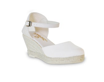 wedge sandals - white - wedges, espadrilles, wedge espadrilles, ankle strap sandal, wedge espadrilles, ankle strap wedge espadrilles