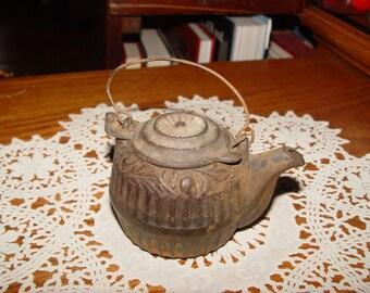 Antique 1890's Salesman Sample Childs Toy Size Cast Iron Tea Kettle w/ Swing Lid