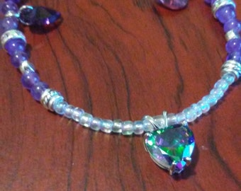Mystic Rainbow Topaz and Amethyst Necklace