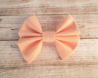 Solid Peach Chunky Hair Bow Clip or Headband / Chunky Bow / Peach Bow Headband / Solid Peach Hair Bow Clip / Chunky Bow Headband / Peach Bow