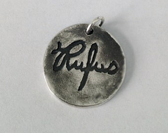 Double Sided A Single Name in Your Actual Loved Ones Writing (or your own) Silver Pendant Made to Order