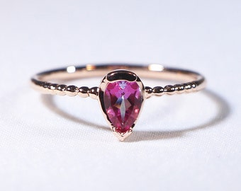 Pink Tourmaline Solitaire Ring with Beaded Band, Pink Tourmaline Ring, 14K Solid Gold Pink Tourmaline Ring