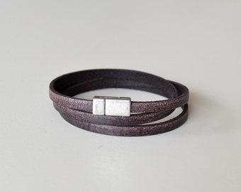 Distressed Leather Bracelet, Men's Leather Bracelet, Leather for Men, Brown Leather Wrap Bracelet