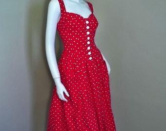 Vintage Rockabilly POLKA DOT Convertible Halter 80's 50's Style Smocked Dress