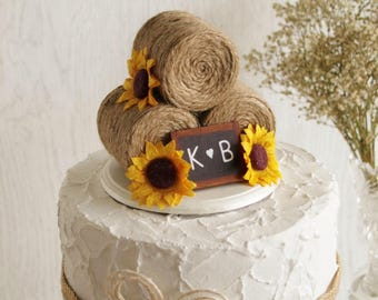 Sunflower Hay Bale Cake Topper - Country Wedding Cake Topper - Farm Wedding Cake Topper - Barn wedding - Rustic Cake Topper - Autumn Wedding