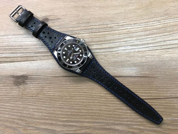 Full Bund Strap, Leather Watch Band, Leather Cuff watch band, Pure Black Brogue Pattern Leather Cuff watch band 20mm lug