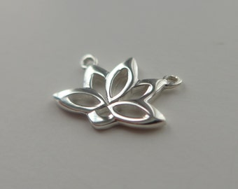 Lotus Yoga Pendant, 3D Lotus Charm, 925 Sterling Silver Pendant Charm, 12x12mm - PC-0065