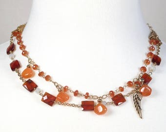 Gorgeous Hessonite Garnet and Carnelian Drops With Gold Filled Chain and Accents