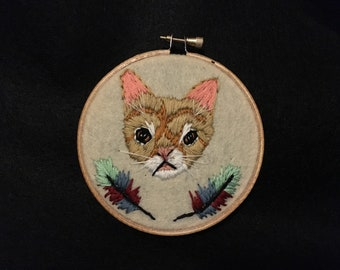 Hand Embroidered Cat Portrait