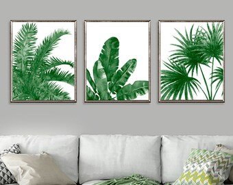 Green print watercolor painting palm leaves, tropical print, canvas print, watercolor leaves, watercolor set of 3 prints - S50