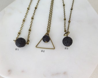 Lava Rock Diffuser Choker Necklace, Triangle Lava Stone Necklace, Essential Oil Diffuserjewelry, Aromatherapy necklace, Lava Necklace