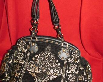 Black and Gold Embroidered Handbag /Purse/ Shoulder Bag - MAXX of New York