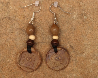 Handmade ceramic clay earrings with wooden beads and Job's Tears seed beads