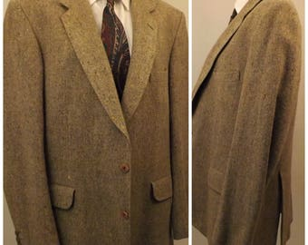70s Vintage Magee Donegal Tweed Brown Mens Sport Coat Size 40