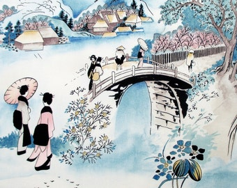 Fabric, Tokaido Road, Japanese Scenes, Alexander Henry Asian Indochine, One Yard or More