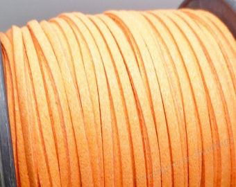 Suede Cord - 5 yards - 15 feet-  Orange Microfiber Faux Suede Cord  - 3mm x 1.5mm- Jewelry making Cording -W057
