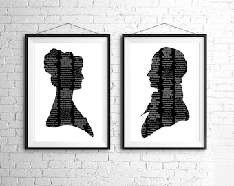 Large Pride And Prejudice Elizabeth Bennet Mr. Darcy Silhouette Print Set Black and White Jane Austen Quote
