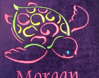 personalized beach towels, towels for kids and adults, sea turtle, starfish, crab, monogram, beach towel, pool towel,